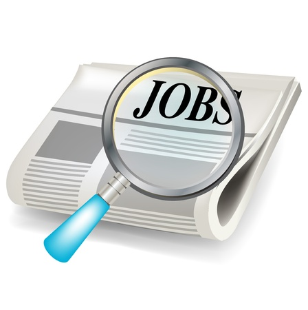 vacancy: newspaper and magnifier job search concept isolated