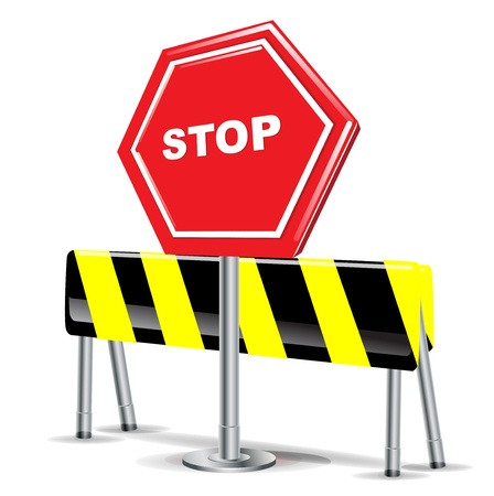 barrier: stop sign and attention sign on white