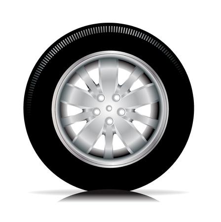aluminum wheels: Rueda de coche �nico neum�tico aislado en blanco Vectores