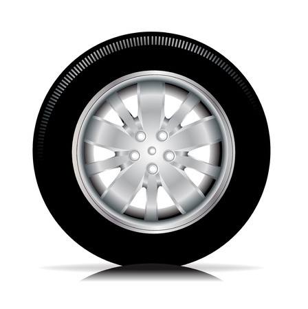 spare part: single isolated tire car wheel on white Illustration