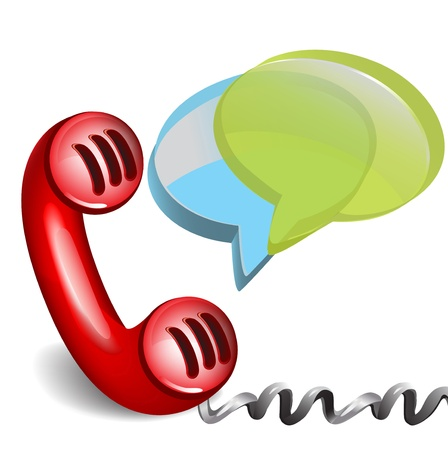telephone line: red retro phone with dialog chat boxes isolated Illustration