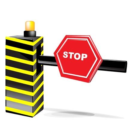 schlagbaum: Barriere mit Stop-Schild isoliert auf weiß