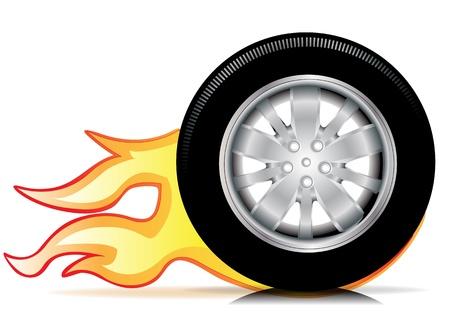 enkele auto wiel met vlammen spoor geïsoleerd