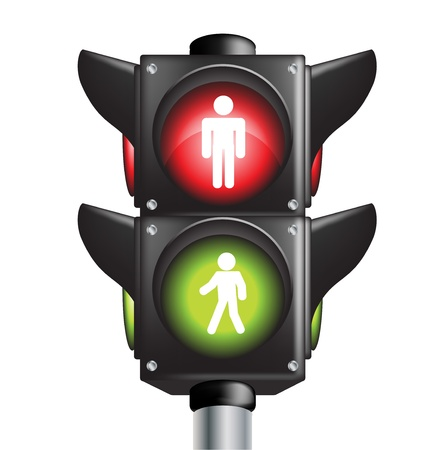 traffic signal: pedestrian traffic light sign with go and stop indicators on white
