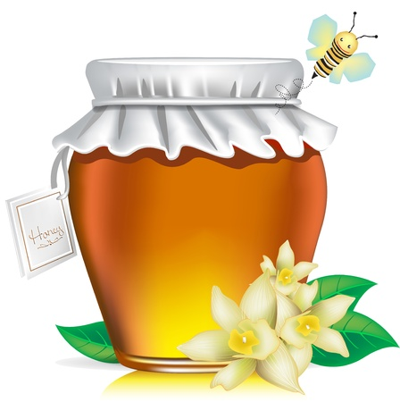 honey pot: honey jar with tag, flowers and honey bee on white