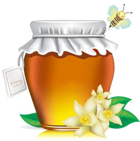 miel de abeja: Tarro de miel con la etiqueta, flores y miel de abeja sobre fondo blanco