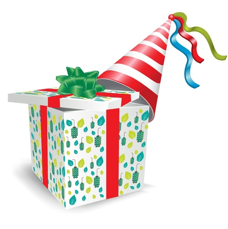 bash: open gift box with party hat on white