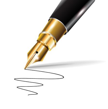 stylo de luxe fontaine avec trace écrite sur fond blanc