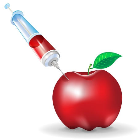 genetic modification: genetic modification of fruit; apple and syringe isolated
