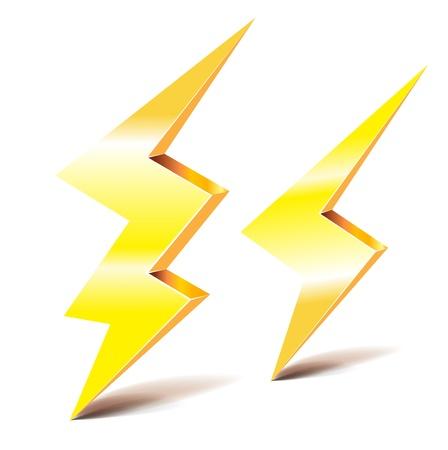 descarga electrica: dos símbolos de rayo trueno en blanco