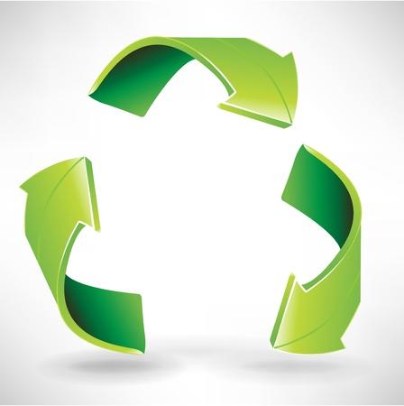 three dimensional shape: three green arrows environmental concept