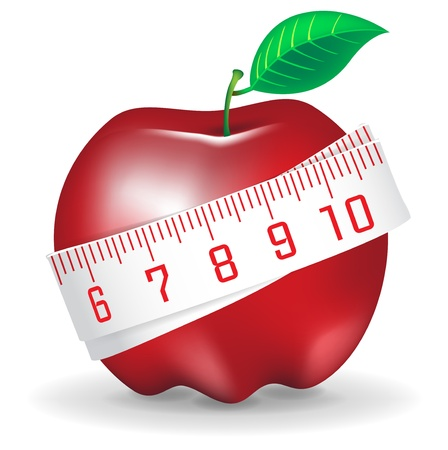 fruit stem: illustration measuring tape around fresh red apple