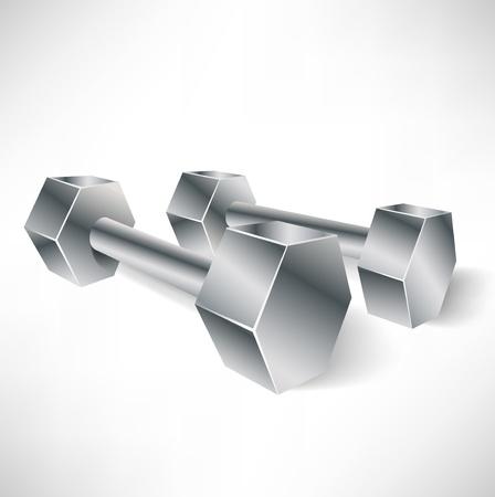 dumbells: two metal dumbbells in perspective view