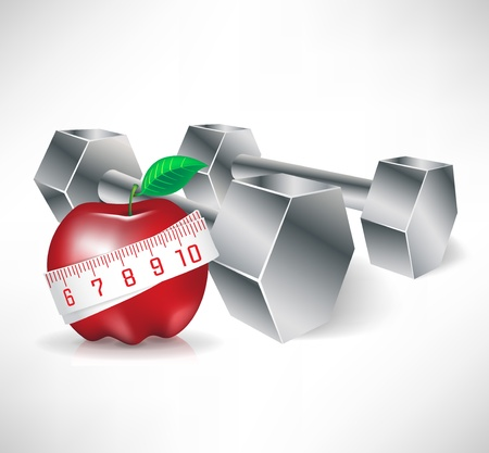 metal dubbells with apple and measure tape; fitness concept Vector
