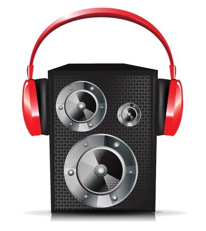 geluid: enkel geluid luidspreker met rode koptelefoon Stock Illustratie