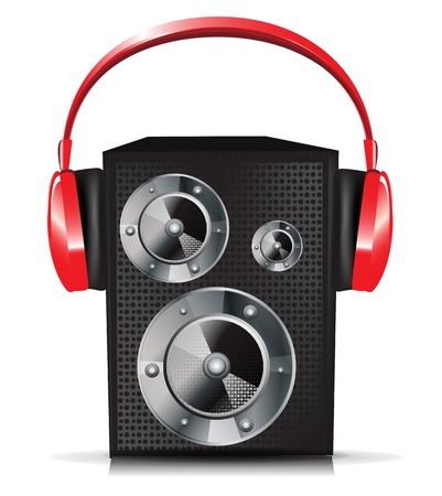 sound system: single sound speaker with red headphones Illustration