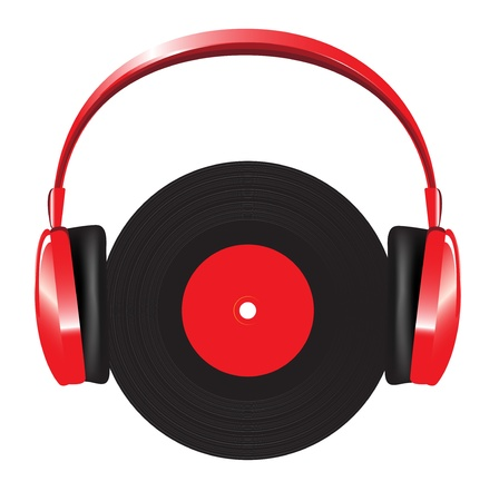 headgear: red headphones with vinyl disc on white