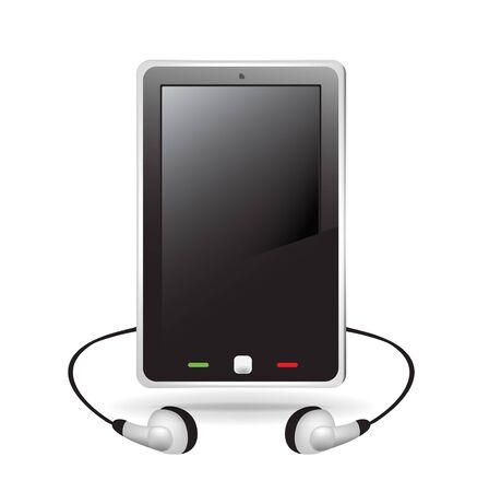 single smart telephone with headphones Stock Vector - 10888063