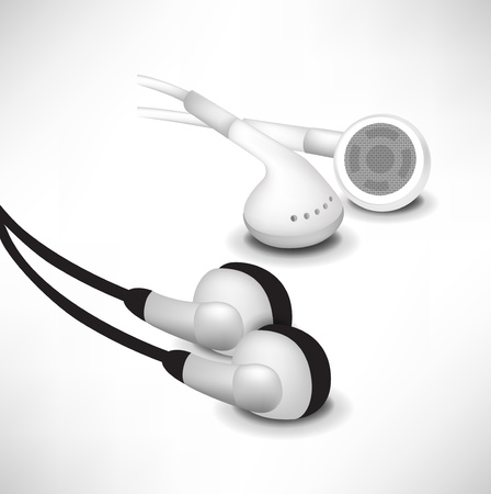 earphones: modern black and white sets of headphones