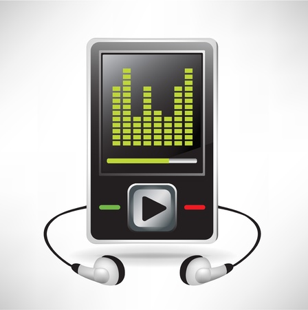 music player and headphones with equalizer Stock Vector - 10888078
