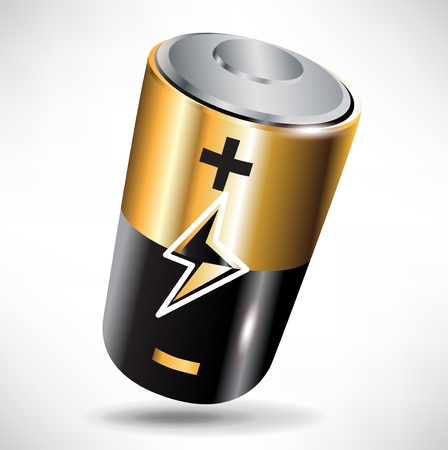single battery black and metal shinny icon Stock Vector - 10888079