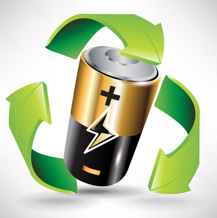 recycle symbol: battery recycle concept with battery and green arrows Illustration