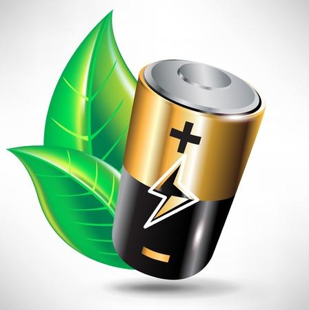 baterii: Green Power bateria recycle concept z liśćmi