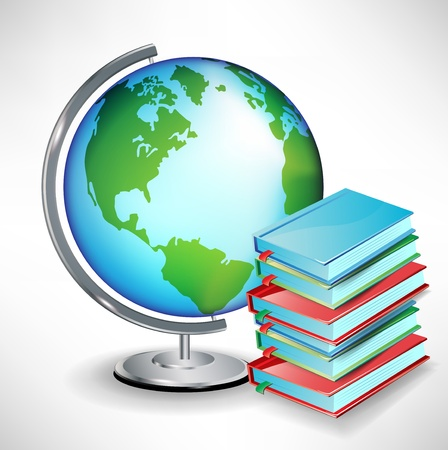 geography background: terrestrial school earth globe next to pile of books Illustration