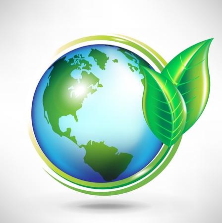 잎 녹색 지구 글로브 개념 일러스트