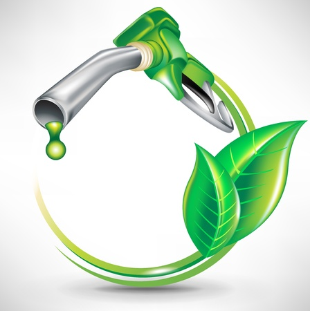 emission: green energy fuel concept with gas pump nozzle