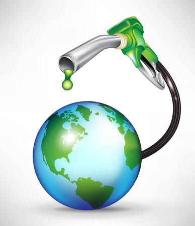 smog: gas pump droppping green oil onto earth planet Illustration