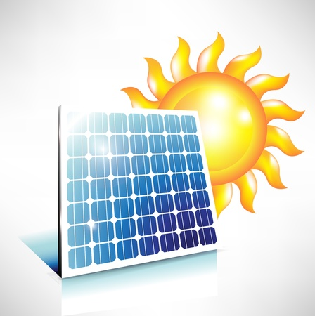 alternative solar energy; solar panel icon Stock Vector - 10888401