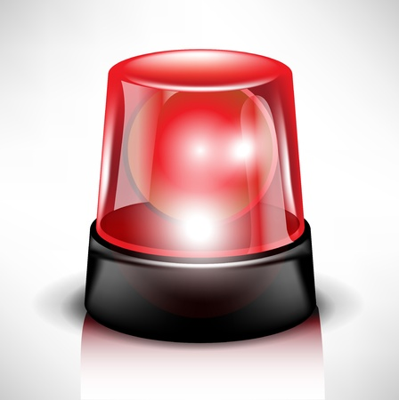 emergency light: red flash light siren real while flashing