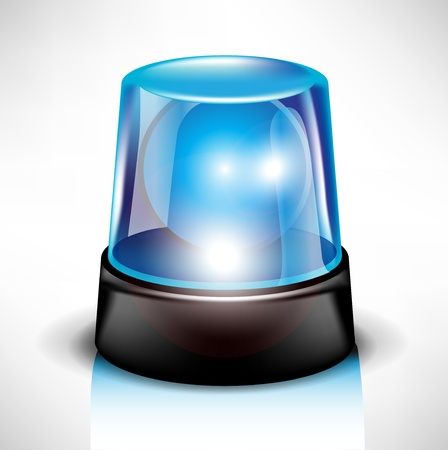 emergency services: blue flash light siren real while flashing