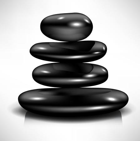 feng shui: simple pile of black massage spa stones Illustration