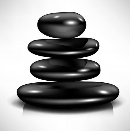 simple tas de pierres noires spa de massage Vecteurs