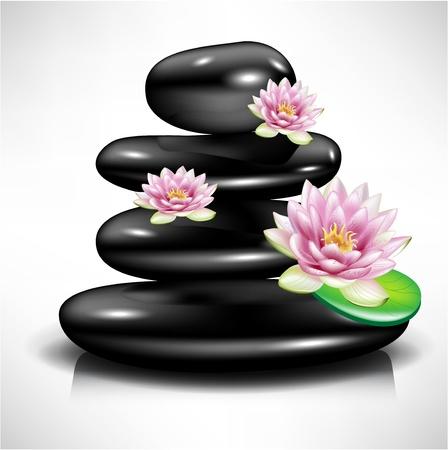 massage therapie: enkele spa steen  kiezel met lotusbloemen Stock Illustratie