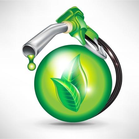 groene energie brandstof concept met bol en benzinepomp sproeier Vector Illustratie