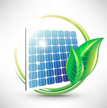 solar equipment: de energ�a alternativa solar, icono del panel solar con hojas