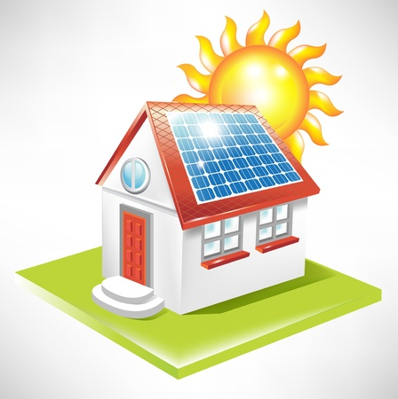 house energy: casa con paneles solares, icono de la energ�a alternativa