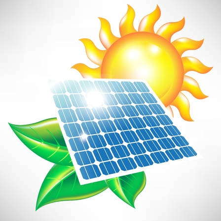 solar power station: solar energy panel with sun and leaves; alternative energy icon