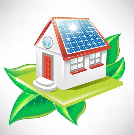 solar equipment: casa con paneles solares y las hojas, icono de la energ�a alternativa