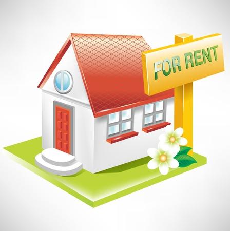 huis met te huur teken; vastgoed pictogram Stock Illustratie