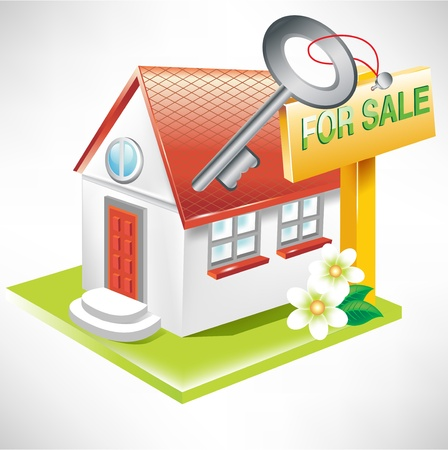 real estate sold: house with key and for sale sign; real estate icon Illustration