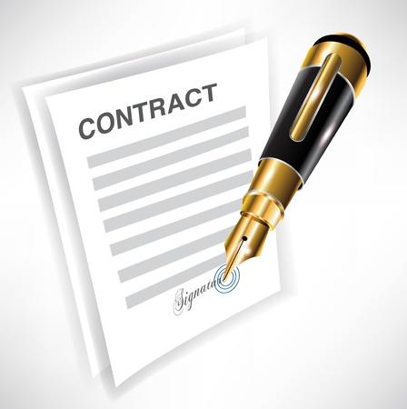 ondertekening contract met vulpen icoon Stock Illustratie