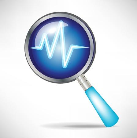 icona diagnostica con lente d'ingrandimento