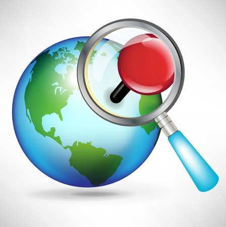 icon of globe with magnifying glass and red pin Stock Vector - 10959847
