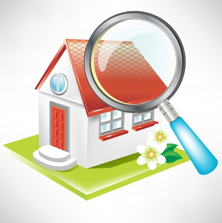 home search: search for home icon concept with magnifying glass