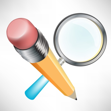 pencil and magnifying glass; search and replace icon Vector