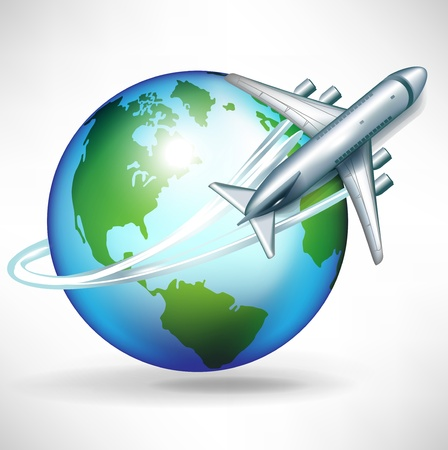 passenger airline: airplane circling around the globe illustration Illustration